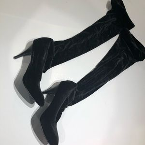 Shoes - Black velvet over the knee boots size 8 gently use